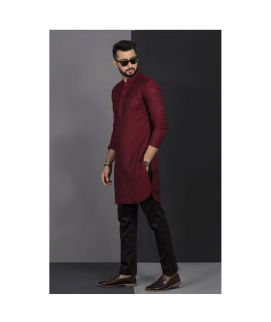 Men's Vestir De Maroon Chicken Kurta