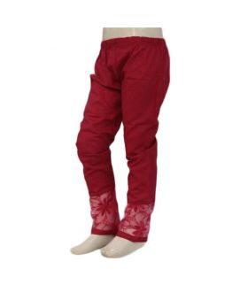 Women's Flower Embroidered Red Cigarette Pants