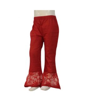 Women's Red Embroidered Cigarette Pants
