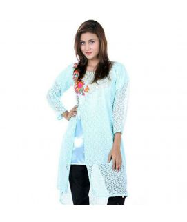 Women's Sea Blue Net Lace Embroidered Kurti With Pajama