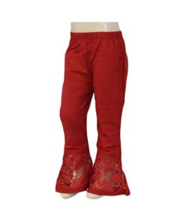 Women's Leaves Embroidered Red Cigarette Pants