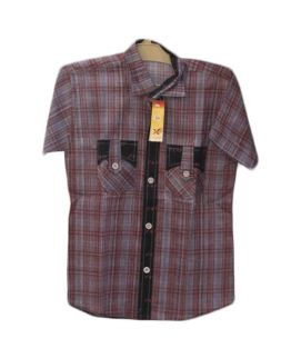 Black Linen With Purple Casual Shirts For Boys