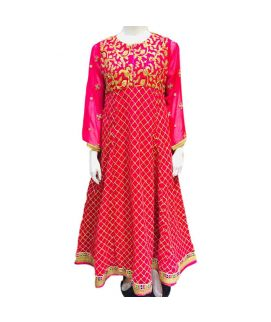 Women's Leave Embroidered Pink Kurti