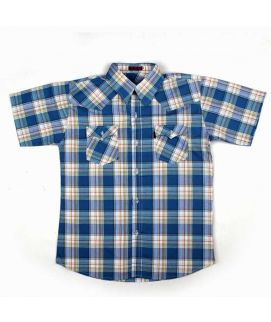 Check Style Blue Shirt For Boys