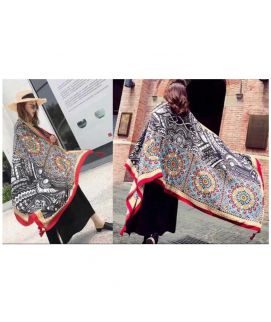 Women's Black And White Winter Imported Shawls