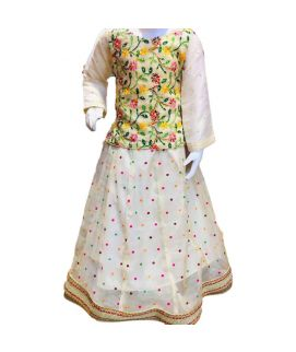 Women's Leave Embroidered White Kurti With Pajam