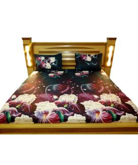 Black Digital Printed Bedsheet With Pillow Covers