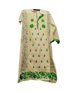 Women's Green And Fawn 3 Pieces Azaadi Day Embroidered Suit