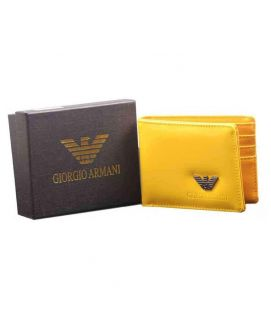 Men's Glossy Leather Yellow Wallet