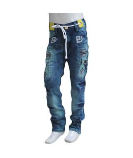 Kids Blue Printed Jeans