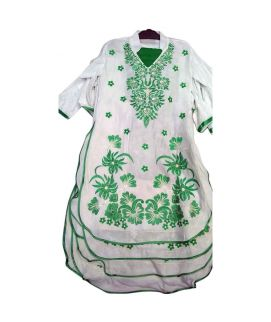 Women's Green And White 3 Pieces Azaadi Day Embroidered Suit