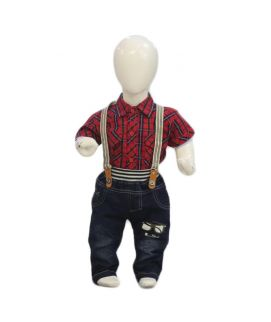 Red Baby Check Style Suit