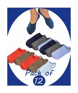 Pack Of 12 Cotton Low Cut Non Slip Socks