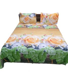 Green Leave Printed With Peach Bedsheet With Pillow Covers