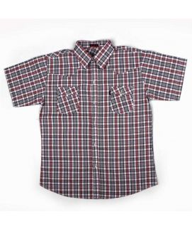 Check Style Black And Maroon Shirt For Boys
