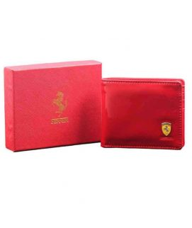 Men's Shiny Leather Wallet Red
