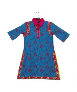Ferozi Cotton Printed & Embroidered Kurta for Girls