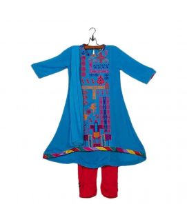 Ferozi Malai Lawn Embroidered Suit for Girls  pcs
