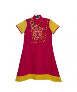 Amaze Collection Pink Cotton Traditional Kurta for Girls