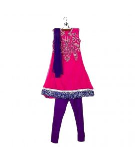 Amaze Collection Pink Crinkle Chiffon Embriodered Kurta For Girls