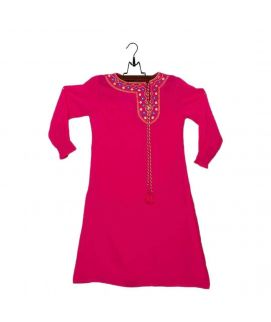 Amaze Collection Pink Malai Lawn Embroidered Kurta for Girls