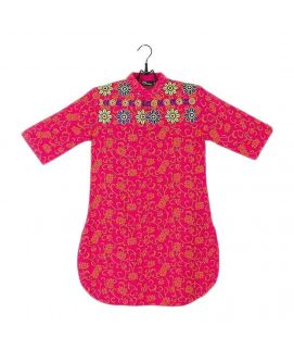 Amaze Collection Pink Malai Linen Embroidered Kurta for Girls  GS 435