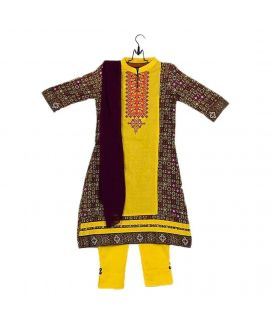 Amaze Collection Yellow Cotton Embroidered Kurta for Girls