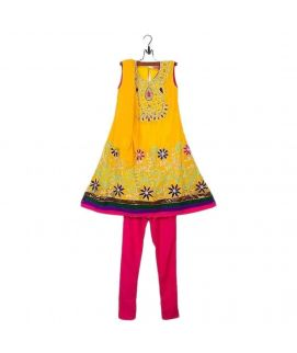 Amaze Collection Yellow Crinkle Chiffon Suit for Girls  3Pcs