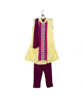 Amaze Collection Yellow Malai Linen Suit for Girls  3 Pcs  AGS 016