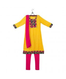 Amaze Collection Yellow Malai Linen Suit for Girls  3 Pcs  AGS 060