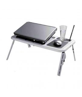 Basit Deals E Table With Laptop Cooling Pad Black & White