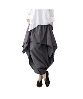 Women's Grey Wide Leg Asymmetric Pants