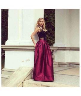 Women's High Waist Plain Long Red Maxi Skirts