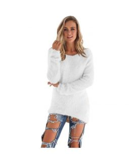 Women's White Pullovers Sweater