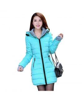 Women's Wadded Down Blue Slim Coat