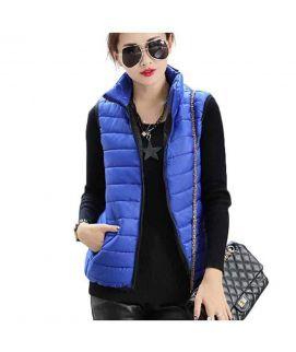Women's Sleeveless Korean Blue Slim Coat
