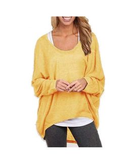 Women's Yellow Batwing Long Sleeve Solid Sweater