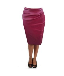 Women's Red Faux Leather Bodycon Midi Skirt