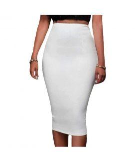 Women's White High Waist Back Zip Pencil Skirt