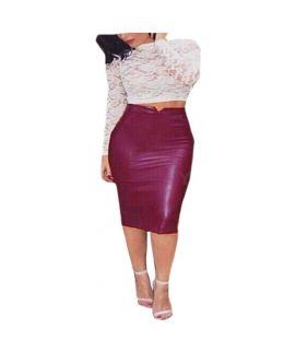 Women's Leather Red Pencil Skirts