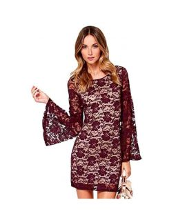 Women's Long Sleeve Floral Backless Bodycon Dress