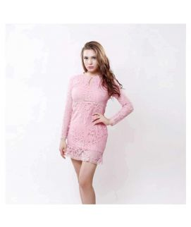 Women's Pink Lace Patchwork Hollow Out Dress