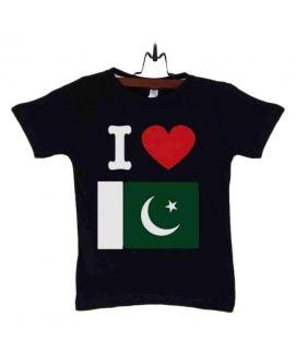 Black Cotton I Love Pakistan T-Shirt For Kids