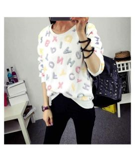 Women's White Lesser Knitted Pullovers Sweater