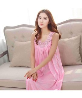 Baby Pink Long Silk Women's Gown