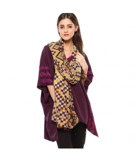 Women's Swiss Lawn Brown Printed Duppata