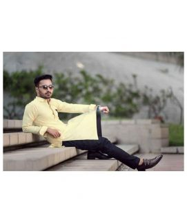Men's Yellow Kurta With Black Trouser