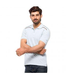 Alice Blue Cotton Polo Men's Shirt