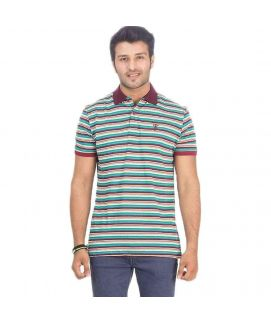 Multi Color Cotton Striped Polo Shirt for Men
