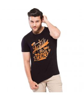 Black Jersey Graphic Printed T-Shirt for Men